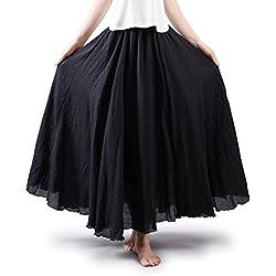 OCHENTA Mujeres Estilo Bohemia Cintura Elástico Algodón Larga Lino Faldas Negro