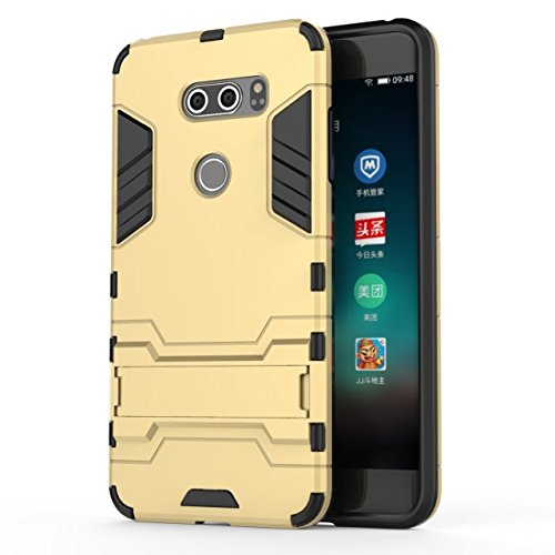 YHUISEN LG V30 Case, 2 in 1 Iron Armour Tough Style Hybrid Dual Layer Armor Defender PC + TPU Schutzhülle mit Stand Shockproof Case für LG V30 ( Color : Blue ) Gold