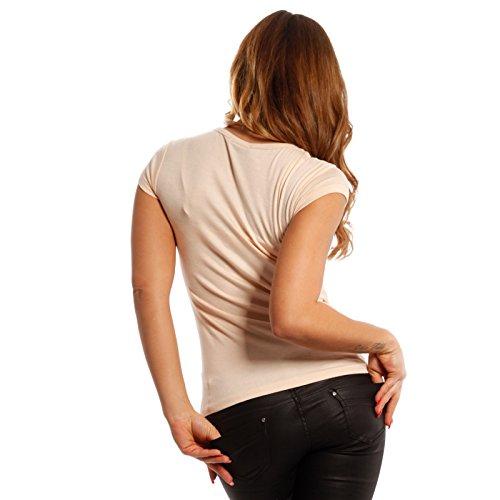 Young-Fashion Damen Basic Shirt T-Shirt U-Neck Soft Rose