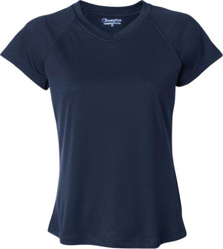 Champion Double Dry T-shirt (Champion Damen 4.1oz Double Dry? V-Ausschnitt T-Shirt, Weiß - Schwarz - Groß)