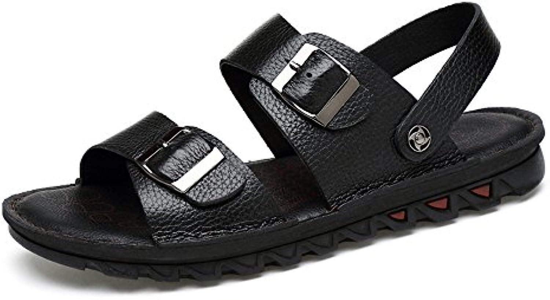 Ruiyue Zapatillas de Playa de Cuero, de Piel de Vaca Genuina Open-Toe Sandalias Antideslizantes Casuales Zapatos...