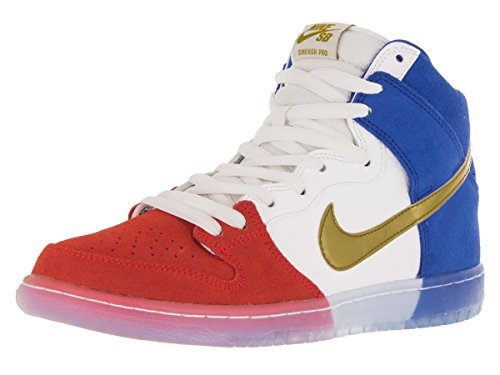 Nike Dunk High Premium Sb, Scarpe da Skateboard Uomo, Nero Challenge Red/Mtllc Gold/Game Royal