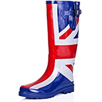 SPYLOVEBUY Flat Festival Wellies Wellington Knee High Rain Boots Blue Rubber UK 4
