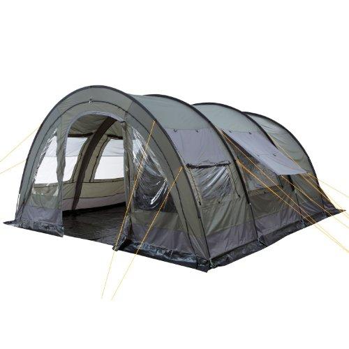 CampFeuer - XXL Tunnelzelt, 2 Kabinen, 6 Personen, olivgrün-grau, 5000 mm WS