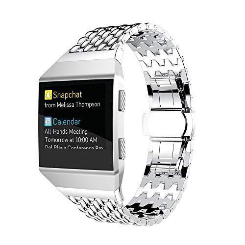 Takkar Edelstahl Metall Uhrenarmband für Fitbit Ionic~modisch,hochwertig und hautfreundlich Adel~Edelstahl Ersatz delstahl Schlaufe Ersatz Strap Erweiterbar Armband Metall Ersatzband für Fitbit Ionic - Herren-erweiterbar-uhr Bänder