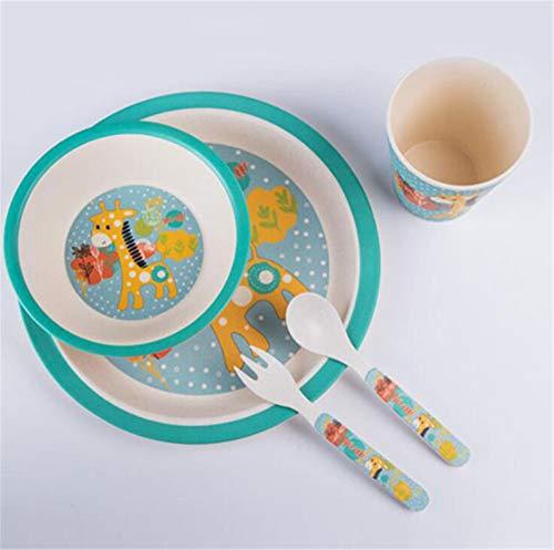 Tianchagn5pcs / set carino bella cartoon set di stoviglie per bambino in fibra di bambù bambini set di stoviglie baby plate bowl forchetta tazza dinnerspoon, c
