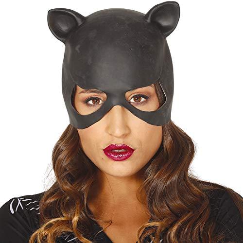 Amakando Cosplay Katzenmaske mit Ohren / Schwarzes Vinyl / Augenmaske Cat Lady / Perfekt geeignet zu Kostümfest & Halloween