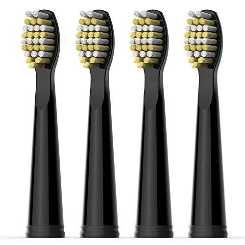 Testina di Ricambio per Spazzolino Elettrico Fairywill x 4 con Setola Resistente Solo per FW507, FW917, FW508, FW659, Serie FW515 Spazzolino Nero (FW06)