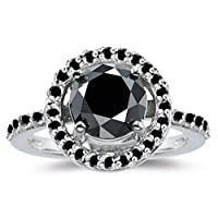 Women's ring silver inlaidWith a black sapphire stoneUS size 6