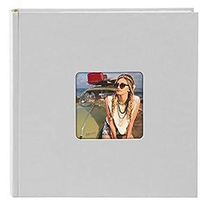 Goldbuch Einsteckalbum/Memoalbum mit Bildausschnitt, Living, 22,5x22,5 cm, Für 200 Fotos im Format 10x15 cm, Hochwertiger Einband aus Strukturpapier in Leinenoptik, Grau, 17 198