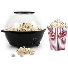 oneConcept Moviestar Popcorn Maker Popcorn-Maschine Popcornautomat (5,2 Liter, 1000W, Deckel gleich Schüssel) schwarz