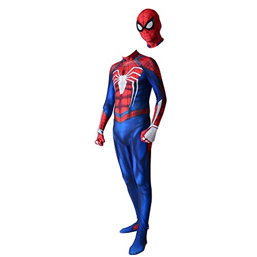 Spiderman Kostüm Herren Handschuhe - BLOIBFS Spiderman Cosplay Kostüm Herren,Halloween Kostüm Cosplay Spandex Jumpsuits Party Cosplay Kostüm,Adult-XL