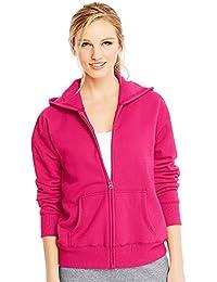 Hanes ComfortSoft EcoSmart Women's Full-Zip Hoodie Sweatshirt_Sizzling Pink_S
