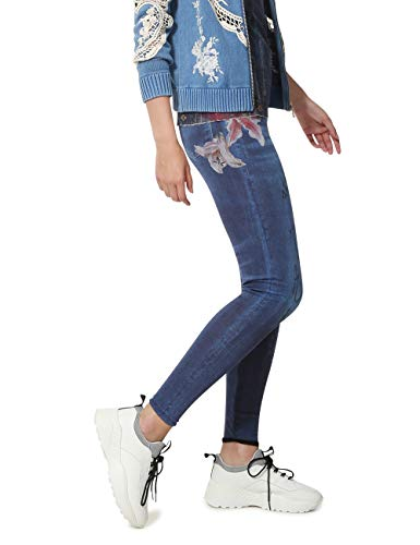 desigual floral print nala leggings, blu (tinta 5011), w30 donna