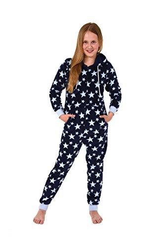 Mädchen Jumpsuit Overall Schlafanzug langarm - Sternenmotiv - 271 667 97 004, Farbe:hellblau, Größe:164