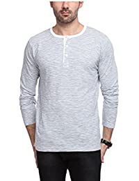 Yukth Mens Grey Striped Full Sleeve Henley T-shirt For Mens