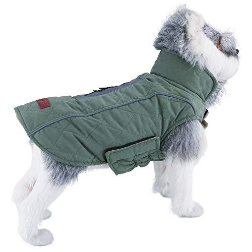 ThinkPet Hunde Outdoorjacke Cotton Gepolsterte Reversible Warmen Canine Coat Herbst Winter mit Reflektierenden Streifen Fur Reversible Coat