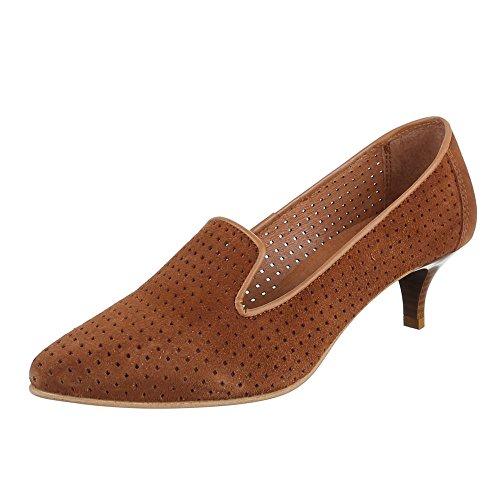 Damen Schuhe, 4341, PUMPS BEQUEME KOMFORT LEDER Camel