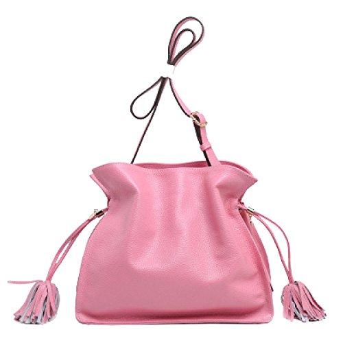 Yy.f Nuovo Sacchetto Di Caramelle Sacchetto Di Secchio Sacchetto Messenger Il Primo Strato Di Borse In Pelle Borsa A Colori Multicolore Pink