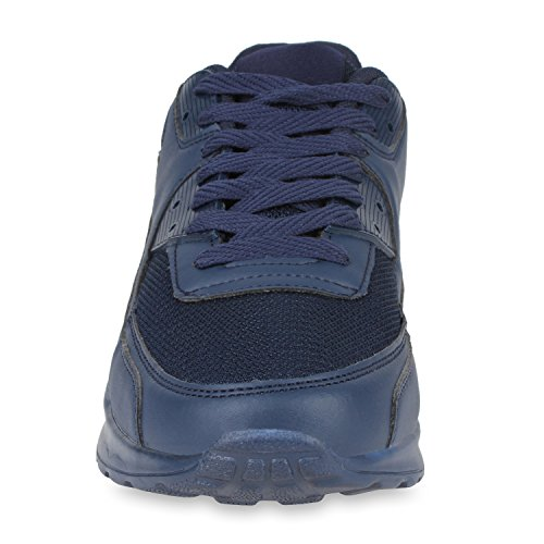 Damen Herren Unisex Laufschuhe Profil Sohle Sportschuhe Fitness Schuhe Dunkelblau Total