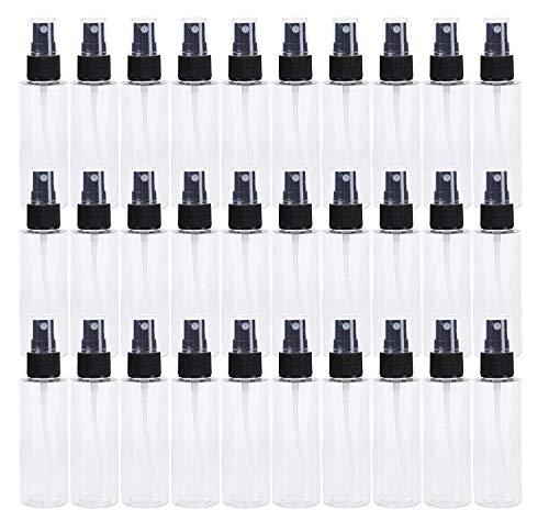 Scopri offerta per Lawei - Confezione da 30 flaconi Spray Trasparenti in Pet con nebulizzatore Nero, riutilizzabili, Vuoti, in plastica, per Oli Essenziali, Viaggi, profumi