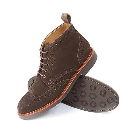 Gordon & Bros Herrenschuhe Harry 5039 Herren Schuhe Businessschuhe, Schnürstiefel, Anzugschuhe, Boots, Goodyear, Braun (suede brown), EU 45