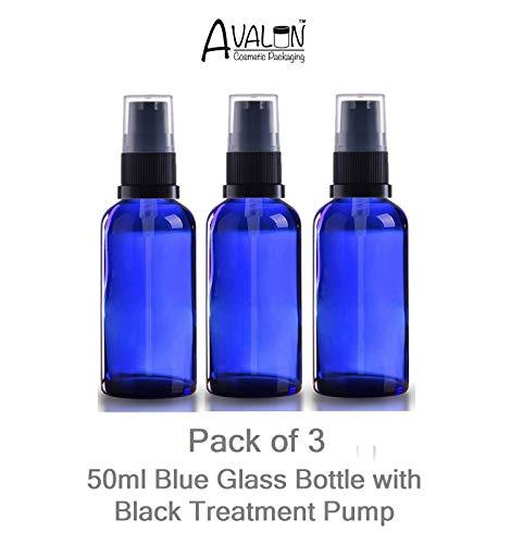 Bouteille en verre bleu 50 ml vide avec bouchon à pompe noir (lot de 3) pour aromathérapie/arts créatifs/premier secours/voyage/gels/lotions/sérums