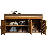 Comparador de precios A-Fort Taburete de bambú Minimalista Moderno del Almacenamiento del Estante del Zapato del Banco del Zapato de DLDL (Tamaño : 32.5 x 90 x 49cm) - precios baratos