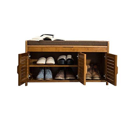 A-Fort Taburete de bambú Minimalista Moderno del Almacenamiento del Estante del Zapato del Banco del Zapato de DLDL (Tamaño : 32.5 x 90 x 49cm)