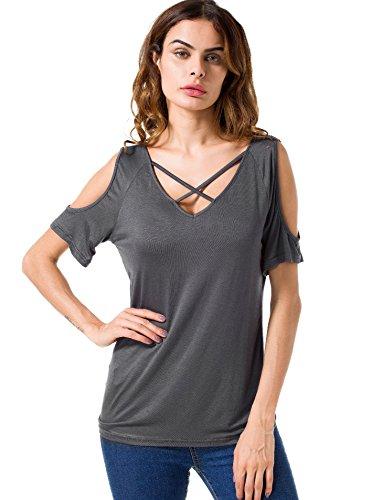 Suimiki Damen Sommer Kurzarm T-Shirt V-Ausschnitt mit Schnürung Vorne Oberteil Tops Bluse Shirt (S, T02_Grau)