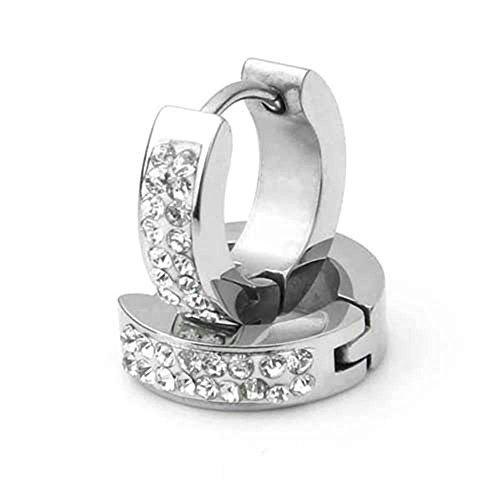 Easy Provider® Edelstahl 14x4mm Ohrringe Strass Herren Damen Schmuck
