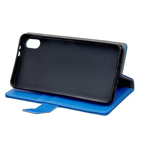 iPhone X Coque, Voguecase Étui en cuir synthétique chic avec fonction support pratique pour Apple iPhone X (Motif rétro-Rose)de Gratuit stylet l'écran aléatoire universelle Litchi grain Bleu