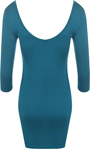 WearAll - Damen Bodycon Elastisch Kleid Rundhalsausschnitt Lange Top - 14  Farben - Größe 36 /