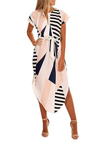 Cindeyar Robe Femme Eté Sexy Col v Chic Géométrie Imprimé Manches Courtes Robe Causal Elégant Mode (XL, Beige)