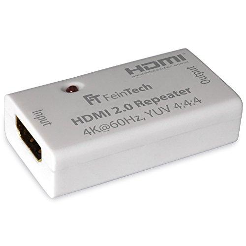 FeinTech VMR00100 HDMI 2.0 Repeater Signal-Verstärker (UHD 4K 60 Hz, HDR), 50 m Reichweite, HDCP 2.2, weiß