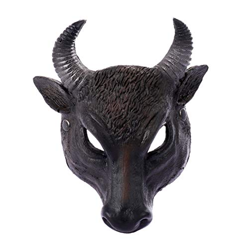 Amosfun Tier Cosplay Gesichtsmaske PU Ox Kopf Maske Neuheit Halloween Weihnachten Ostern Kostüm Party Masken Cosplay Party Supplies (Für Erwachsene Kuh Kopf Kostüm Maske)