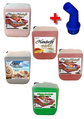5x 5 L Cremeseife Handseife MISCHPAKET + Ausgießer Flüssigseife extra mild Seifenspender