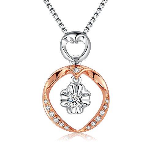 18k 750 rosa oro bianco doppio anello cuore cut-out accento diamante ciondolo su catenina in argento 925collana di 40cm(0,15cttw, g-h colore, vs2-si1chiarezza)