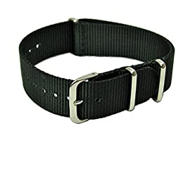 Pulling 24 mm NATO Nylon Watch Strap Black/Grey