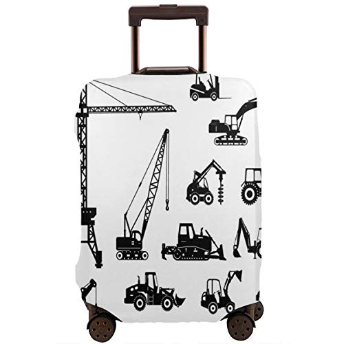 Travel Luggage Cover,Black Silhouettes Concrete Mixer Machines Industrial Set Trucks Tractors Suitcase Protector