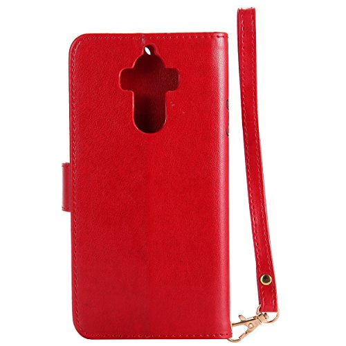 ISAKEN Custodia Cover per Huawei Mate 9 - Fashion Agganciabile Luminosa Custodia con LED Lampeggiante PU Pelle Portafoglio Tinta Unita Cover Caso per Huawei Mate 9, Luxury Protettivo Skin Custodia Rag Rossa
