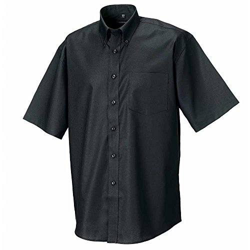 Russell Collection Oxford-Camicia a maniche corte da uomo Black
