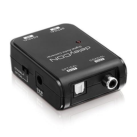 deleyCON - Digital Toslink zu Digital Coax Audio Konverter - bidirektional - in beide Richtungen - Konverter/Splitter/Wandler - von optischem Toslink zu digitalem Koaxial (Cinch) Ausgang - oder umgekehrt - HD Audio Converter - Dolby Digital - DTS - PCM uvm.