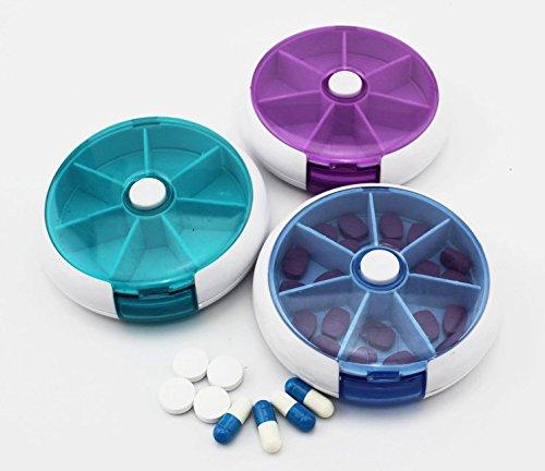 Pastillero 7 días bandeja redonda medicamentos vitaminas contenedor dispensador de almacenamiento paquete de 2