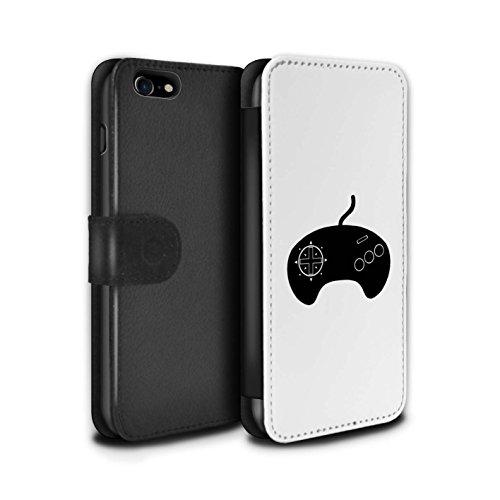 Stuff4 Coque/Etui/Housse Cuir PU Case/Cover pour Apple iPhone 8 / Pack 20pcs Design / Manette Jeux Vidéo Collection Mega Drive Noir