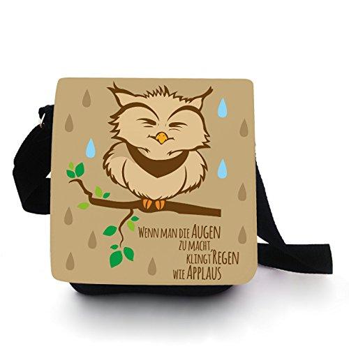 Eulentasche Tasche Kindertasche Handtasche mit Eule Pietri beige Regen Applaus kt91 - Türkis Beige
