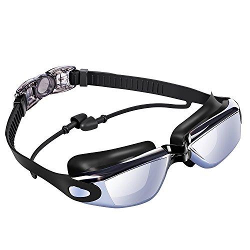 Premium Schwimmbrille Erwachsene, UPhitnis Unisex Galvanotechnik Cool Swimming Goggles mit Antibeschlag und integrierten UV-Schutz mit Badekappe Nasenklammer und Ohrstöpsel für Damen Herren