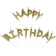 Candele Compleanno Lunghe per Candele Torta Compleanno Oro