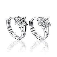 BESTPICKS 925 Sterling Silver Zircon Snowflake Earrings Gift for Women