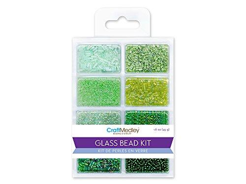 Glas Bead Kit (CraftMedley Glas Bead Kit, 45g, Rocailles/Samen/Bugle, Going grün)